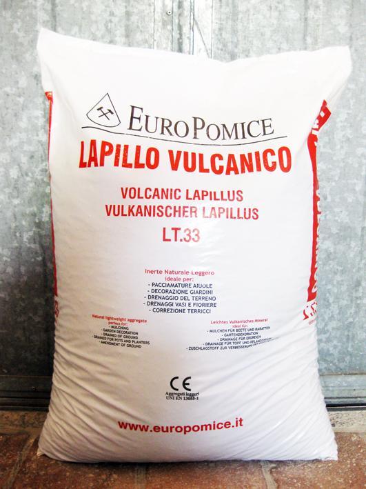 Lapillo vulcanico, lava vulcanica 5/10 mm (pallet da 40 sacchi da 33 lt)