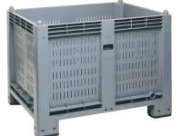 Cargopallet 600 PLUS grigio industriale con pareti grigliate e piedi, 1200x800xh850